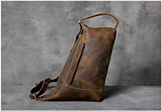 Mens Bag Leather Diagonal Bag Handmade First Layer Leather Chest Bag Personalized Leather Men's Shoulder Bag High capacity