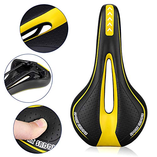 Immoch Comfort Bike Saddle Bicycle seat gel Cycling Saddle with Soft Cushion Ergonomics Design Fit for Road Bike and Mountain Bike (Black+Yellow)