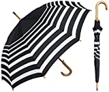 RainStoppers 46' Auto Black & White Stripe Print Umbrella with Wood Hook Handle, Black/White (W043)