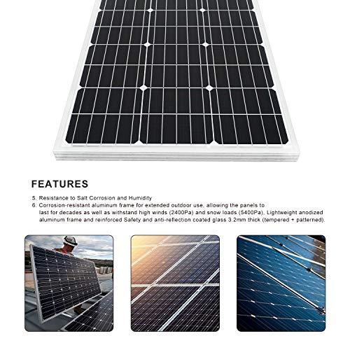 camping bateau ECO-WORTHY Panneaux solaires photovolta/ïques monocristales 100 W 18 V Design compact PV Moudle 39,9 x 52,1 x 3,8 cm pour chargeur de batterie 12 V caravanes voiture