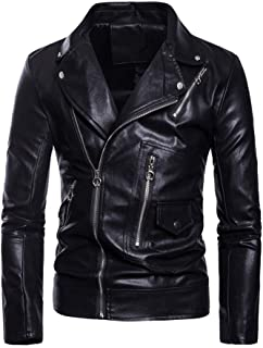 Men's PU Leather Jacket Causal Belted Faux Leather Motorcycle Jacket Zipper Biker Coat