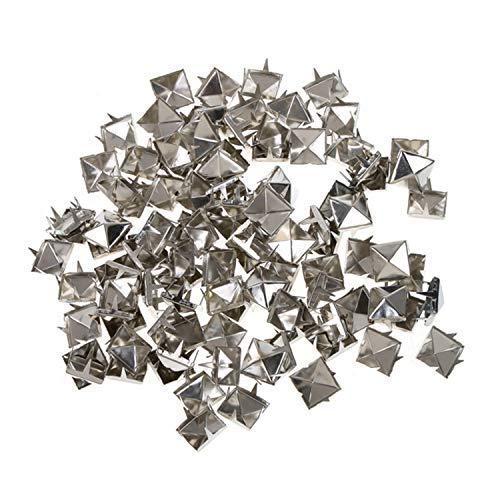 WedDecor 9mm Pyramidennieten Quadrat Stachel Punk Kopf für Lederwaren, DIY Projects, Taschen, Gürtel, Schuhe, Dekor Kleidung, Jeans, Bronze, 100 Stück - Silbern, 12mm