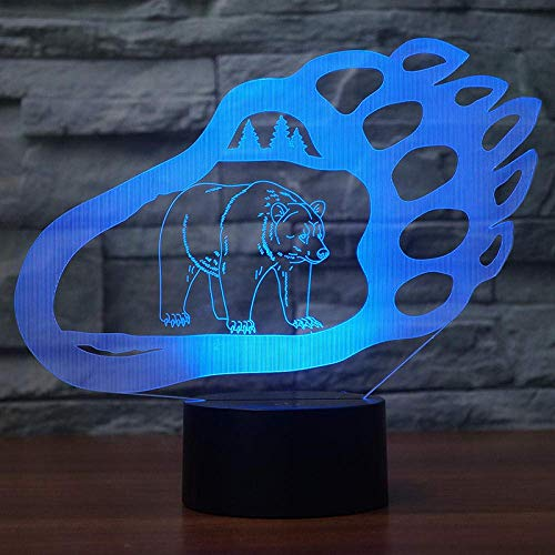 3D-Illusionslampe LED-Nachtlicht Kreative Bärentatzenform 7 Ändern der Farben Touch-Schalter für Wohnkultur oder Geschenk-Support USB