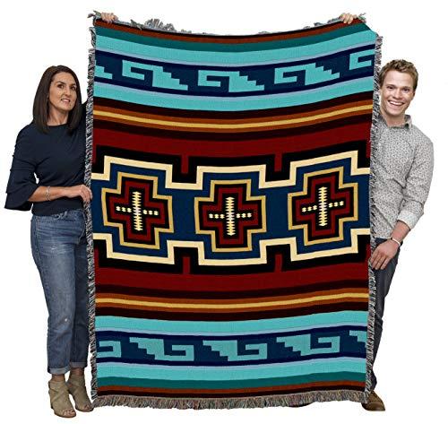 Pure Country Weavers Sarkoy - Manta de campamento tribal inspirada en el suroeste, hecha en los Estados Unidos (72 x 54)