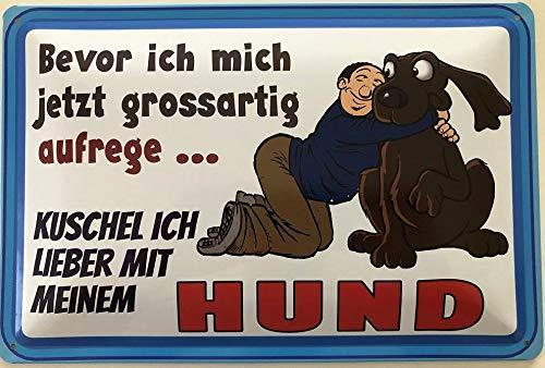 Deko7 blikken bord 30 x 20 cm Voordat ik me nu grote opwingen, knuffel ik lieber met mijn hond