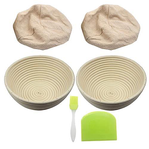 qingqingR 6Pack 9Inch Pan Banneton Proofing Basket with Liner Brush Scraper para panaderos