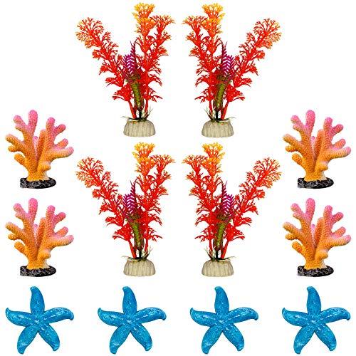 GSD 12-PCS Artificial Aquarium Plants Set Fish Tank Decoration Ornaments for Betta Fish Tank Landscape Decor, Aquatic Plants x 4pcs, Coral x 4pcs, Starfish x 4pcs