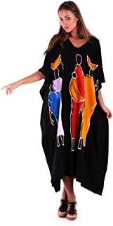 SHU-SHI Womens Long Caftan Dress Hand Paint Tribal Design Swimwear Cover up Kaftan