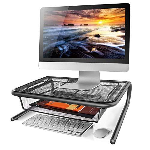 Klickpick Office Metal Mesh Monitor Desk Stand Riser Printer Stand Holder with Drawer Organizer for Computer Laptop I Mac Desk - Black