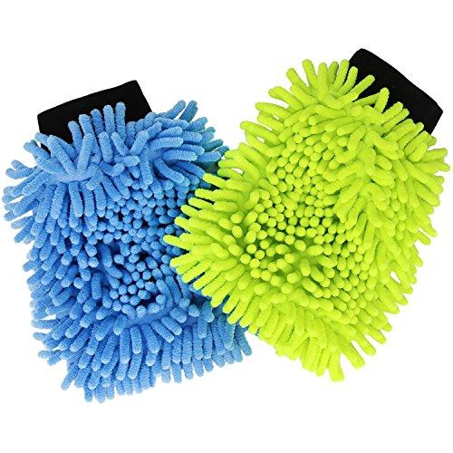 com-four® 2X Mikrofaser Chenille Reinigungshandschuh, 22 x 14,5 cm [Auswahl variiert] (02 Stück - bunt)