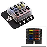 Fusibles para Coche Barco Marino,GZQES,Caja de Fusibles con las luces Alerta LED,Portafusibles 12V 24V (8 Via)