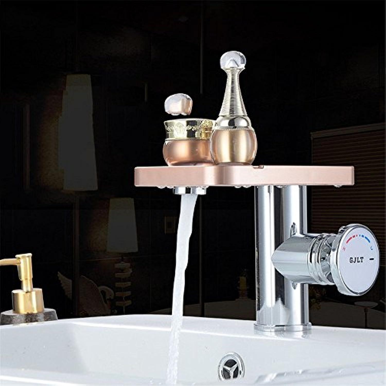 Bijjaladeva Wasserhahn Bad Wasserfall Mischbatterie Waschbecken Armatur für Home Warmes und Kaltes Wasser Waschbecken Waschbecken mit Warmen und Kalten Wasserhahn Thermostat mit Pl