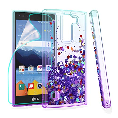 Zingcon Suit for LG K8 V Phone Case,K8V,VS 500 Glitter Quicksand Case,with HD Screen Protector,Shockproof Hybrid Hard PC Soft TPU Bling Adorable Shine Protective Cover-Lake/Purple