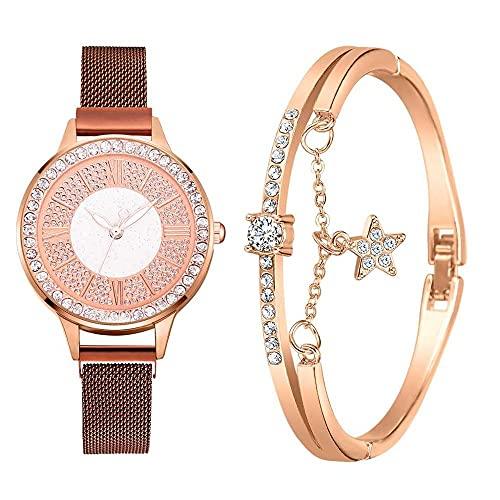 2pcs Set Luxury Women Watches Magnetic Rhinestone Reloj Femenino Reloj de Pulsera de Cuarzo Moda Reloj de Pulsera (Color : Coffee Set)