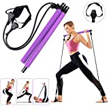 GLKEBY Pilates Bar Kit mit verstellbarem Widerstandsband, multifunktionaler tragbarer Heimfitness Pilates Übungsstab, Ganzkörpertraining, für Yoga, Fitness, Gewichtsverlust, Dehnung, Shaping