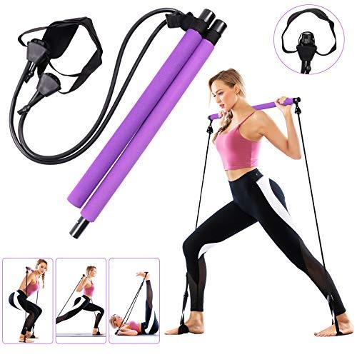 GLKEBY Kit de Barra de Pilates con Banda de Resistencia Ajustable, bastón de Ejercicio de Pilates para Ejercicios en casa portátil Multifuncional, Entrenamiento Corporal Total, para Yoga, Fitness