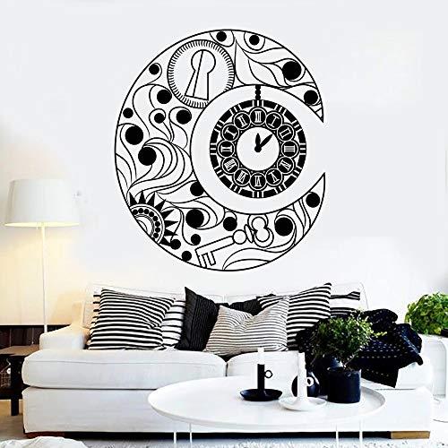 Mond Symbol Uhr Wandtattoo Crescent Moon Gute Nacht Schlafzimmer Artist Residence Design Dekorative Vinyl Fenster Aufkleber Vintage Wandbild 57x64cm