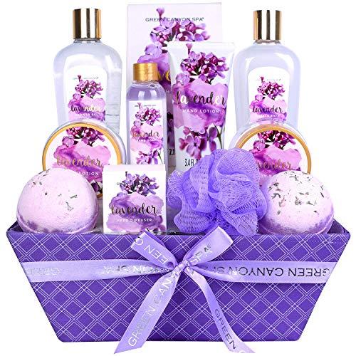 Green Canyon Spa Lavender Spa Geschenkskorb für Frau, Luxuriöse 12-teiliger Weinachten/Geburtstag Bade Geschenksets mit Badebomben Reed Diffusor in Aufbewahrungstuchbox