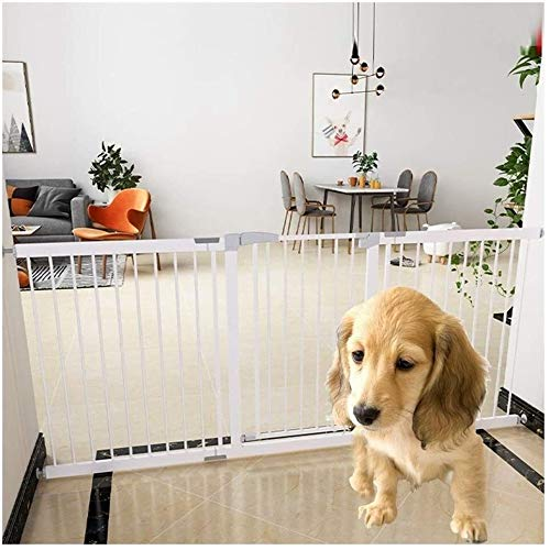 Jacquelyn Safety Gate Metal Adjustable Baby Pet Safety Gate Stair Gate Auto-Close with Pressure Mount Expandable Stands 80cm tall The width can be selected from 75 to 200cm Ideal for Kids and Pets