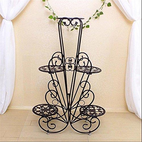 Élégantes grilles de fleur de fer d'intérieur noir/stand de plancher de pot de fleur de style créatif pour le balcon de salon