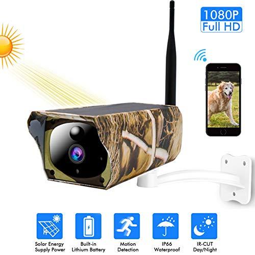 Draadloze bewakingscamera op zonne-energie, 1080P WiFi IP-camera, IP66 weerbestendige PIR-nachtzichtcamera met bewegingsmelder in de buitenlucht en 2-weg audio-SD-kaartsleuf, C