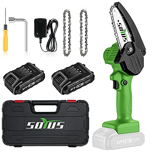 Mini Chainsaw Cordless 4 Inch Mini Chain Saw SOYUS Small Chainsaw with Safety Lock, Rechargeable Mini Lithium Chainsaw Electric Handheld Chainsaw Portable Chain Saw Tree Trimming Branch Wood Cutting