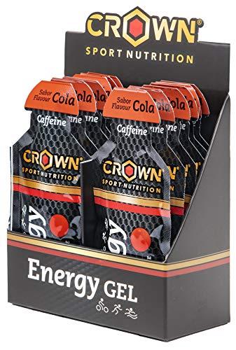 Crown Sport Nutrition Gel Energético - con o sin Cafeína - 12 unidades Carbohidratos en ratio 2:1:1 (Maltodextrina - Dextrosa - Fructosa) Ciclismo Running Deporte Entreno