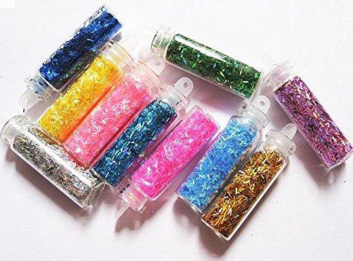 5 x Bottles petites bouteilles rembourré avec Nail Art Paillettes Glitter poussière perles paillettes fils Shapes Spangles – Mix Coloré – Cute Nails