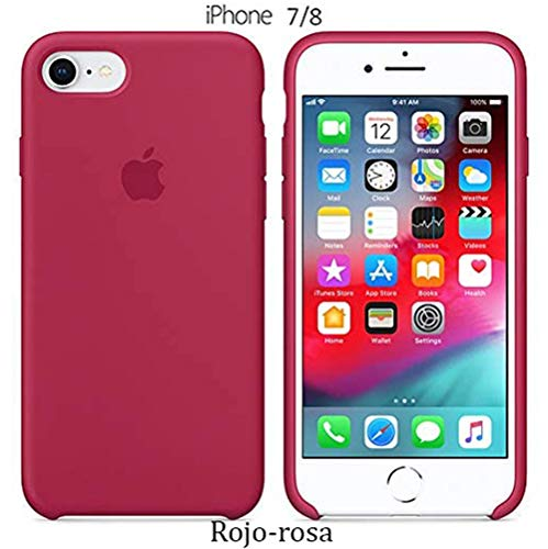 Funda Silicona para iPhone 8 iPhone 7, Silicone Case Calidad, Textura Suave, Forro Interno Microfibra (Rojo-Rosa)
