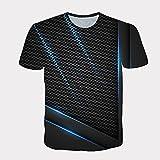 Qier Camisetas Hombre Camiseta Holgada Informal De Manga Corta con Gráfico 3D, Diseño De Panal, Negro, 3XL