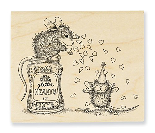 Stampendous House Mouse Wood Rubber Stamp Glitter Hearts