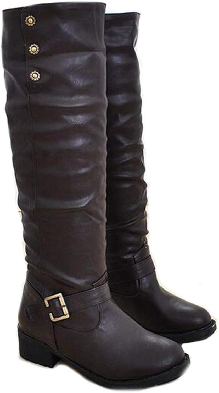 T -JULY Woherrar Knee höga stövlar Mode Buckle Rivet PU PU PU läder Autumn Winter stövlar svart  bspringaaa Big Storlek 34 -43  ärlig service