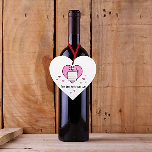 Janly Clearance Sale Decoración del hogar, de madera para el día de San Valentín, en forma de corazón, caja de regalo, botella de vino tinto para colgar, para Navidad, hogar y jardín, (D)