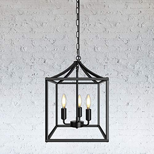 3-Light Black Farmhouse Pendant Lighting Fixture Square...