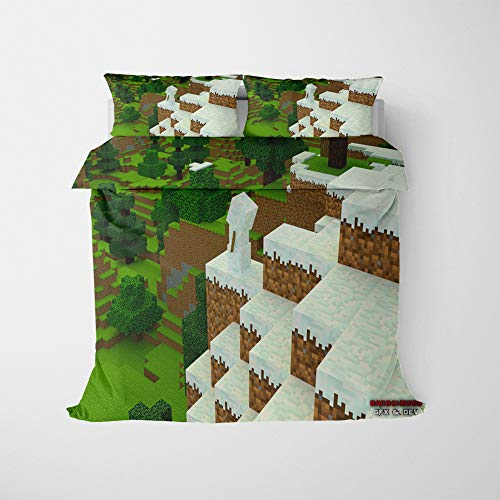 NICHIYO Minecraft Military Duvet Cover Bedding Set - Duvet Cover and Pillow Case, Microfibre, 3D Digital Print Three-Piece Bed Linen (Duvet Cover + Pillowcases) (03, Single 135 x 200 cm)