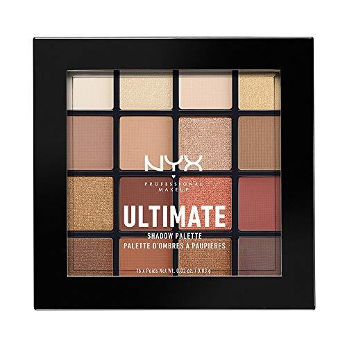 NYX PROFESSIONAL MAKEUP - Palettes de Fards à Paupières - Ultimate Shadow Palette - Ombres à Paupières Ultra Pigmentées - 16 Couleurs - Fini Irisé - Métallique - Mat - Teinte: Warm Neutrals