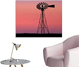 Windmill Poster Paper Windmill Silhouette at Dreamlike Sunset Western Ranch Agriculture Theme Home Decor Wall Coral Lilac and Black W36 xL24