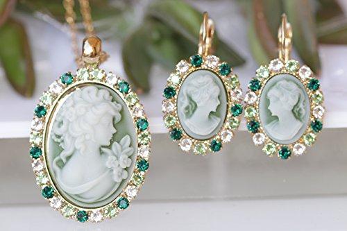 Rebeka Jewelry, CAMEO JEWELRY SET, Green Emerald Cameo Set, Earring Necklace Set, Swarovski Set, Antique Cameo Jewelry, Victorian Wedding Set,Vintage Bridal