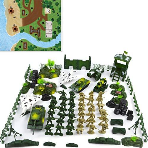 Toyvian 90pcs Soldat modèle Simulation Militaire Simulation Militaire Table de Sable modèle Militaire Soldat playet Jouets éducatifs pour Enfants