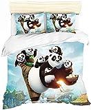 YOMOCO Kung Fu Panda - Juego de funda nórdica y funda de almohada (3 piezas, A03, 135 x 200 cm + 50 x 75 cm x 2)