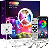 Micomlan 32.8ft/10M Led Strip Lights , Music Sync Color Changing RGB LED Lights with Remote,'Smile Face'Controller and Bluetooth APP Controlled Lights for Bedroom Home Decoration