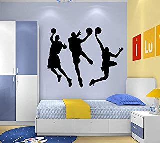 "ANBER Slam Dunk Silhouette Wall Decal Removable Basketball Player Sticker for Kids Bedroom Living Room Playroom DIY Sport Wall Decal Art, 31.5"" H x 53"" W"