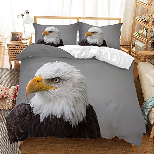 3D-Bettbezug, Motiv Adler / Papagei, Tiermotiv, Bettwäsche, Aquarell, Sommerblumen, handgemalt und exotische Vögel (05,135 x 200 cm)