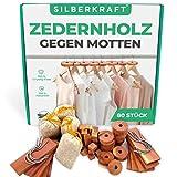 Silberkraft Zedernholz 80x Mottenschutz XXL - gegen Motten in Kleiderschrank und Küche - 100%...