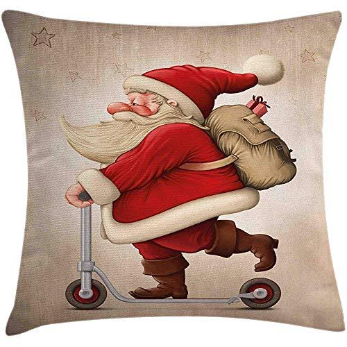 Ducan Lincoln Pillow Case 4 Stück 18X18 Zoll Weihnachten Dekokissen Kissenbezug,Santa Claus Geschenklieferung Auf Roller Holiday Season Illustration,Home Decor Square Akzent Kissenbezug