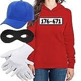 Shirtgeil Costume Banda Bassotti Uomo E Donna Felpa con Cappuccio + Cappellino + Maschera + Guanti Uomo Rosso