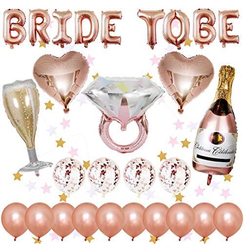 Cojoy Globos para despedida de soltera, 1 pcs Globos con letras de BRIDE TO BE, 14 pcs Globos de látex, 5 pcs globos de aluminio, Guirnalda colgante con forma de estrella de 2 M