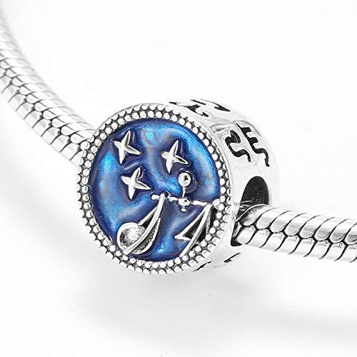 HGFRT Spacer Hohlperlen Waage Sternbild Perlen 925 Sterling Silber Blau Perlen Für DIY Armbänder Halsketten Schmuck Kleiner Charme Perlen