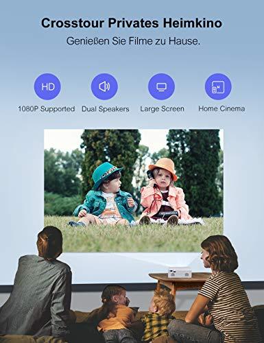Mini Video Beamer Crosstour Full HD Unterstützt Heimkino Projector LED Handy Tragbar Projektor Kompatibel mit Chromecast/iPhone/Android/TV Box/Tablette - 2