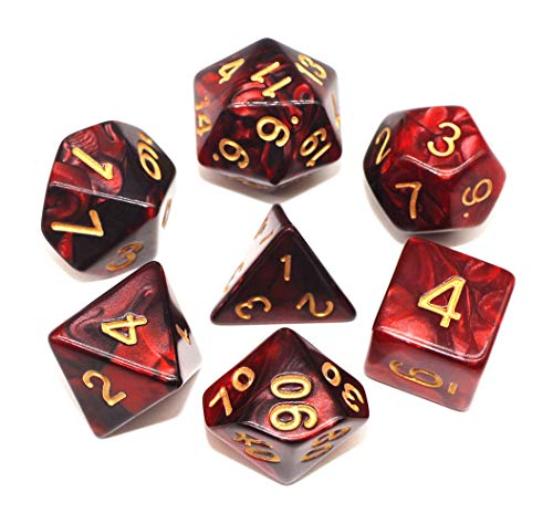 HD Dice DND RPG Polyhedral Dice Set Fit Dungeons and Dragons(D&D) Pathfinder Role Playing Games (Red & Black